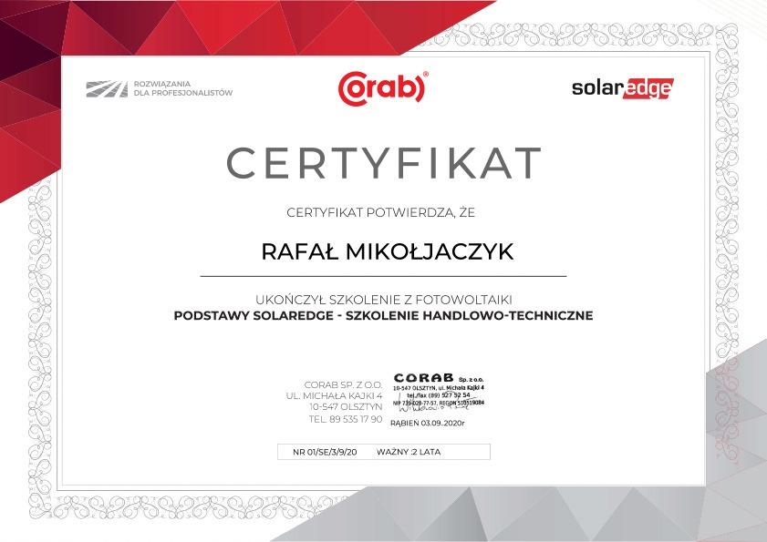 Certyfikat NNF Energy